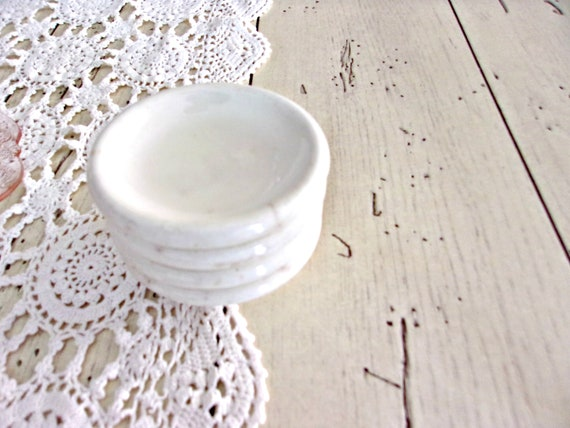 Vintage White Ironstone Butter Pats, Farmhouse Ironstone, White Stoneware Set of 4