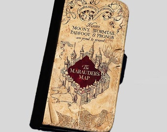 Harry Potter Inspired The Marauders Map iphone 4 4s iphone 5 5s iphone 6  wallet case Leather gear for iphone cases wallets phone covers
