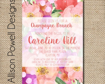 Champagne Brunch Floral Bouquet Bridal Shower. Bridal Luncheon, Engagement Party Elegant Invitations - Print your own