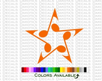 Musical Note Star Decal