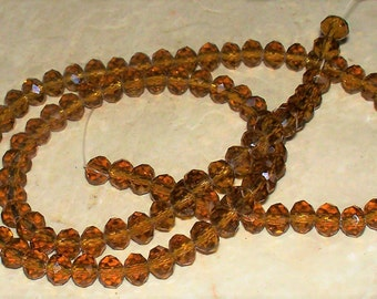 33 Faceted Golden Amber Crystal Glass Rondells - 6x4MM