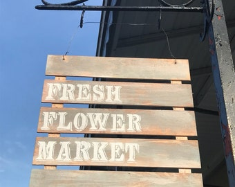 FRESH FLOWER MARKET garden sign grey/blue/white