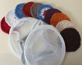 Set of Ten Environmentally Friendly, Budget Friendly Facial Scrubbies w/Laundry Bag.
