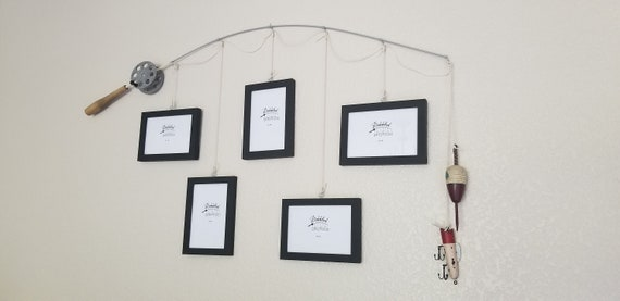 Fishing Pole Picture Frame - Brown or Silver Pole - 5 - 4 in x 6 in Picture Frames - Black Frames