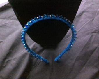 Blue beaded headband