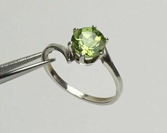 Natural Peridot Sterling Silver Ring / Peridot Ring Sterling Silver