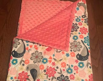 Floral and Bird baby blanket
