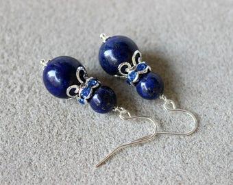 Lapis Lazuli Earrings, Lapis Lazuli Jewelry, Blue Bead Earrings, Navy Blue Earrings, Blue Gemstone Earrings, Blue Silver Earrings, Lapis