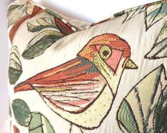 Bird Pillow Cover - Retro Style Leaves, Branches and Birds in Bright Greens, Yellows and Orange on a Cream Background