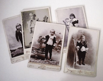 Cabinet Card Photographs, Antique Black White Portraits, Victorian Children, Fine Art Photography, Boys in Bows, 1800s Studio Photography