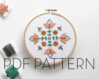 Floral Mandala Embroidery Pattern // PDF Pattern // Digital download// DIY Embroidery