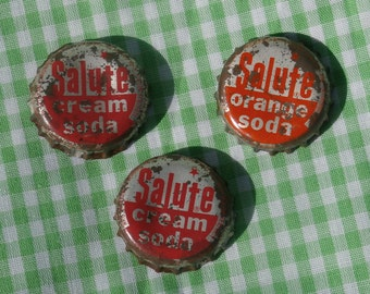 3 Salute Soda Bottle Caps, Cream Soda and Orange Soda, one cork lined