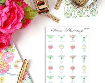 SP-011 Sip Your Drink Martinis & Wine Planner Stickers