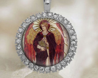 St. URIEL The Archangel Catholic Pendant. Religious Silvertone Medal. FREE Shipping