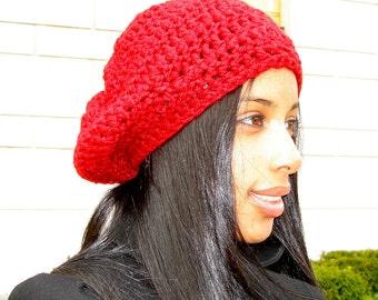 Slouchy Hat Crochet, Women, Teen, Men, Dark Red, Chunky, Unisex, Ready To Ship, Tam,,
