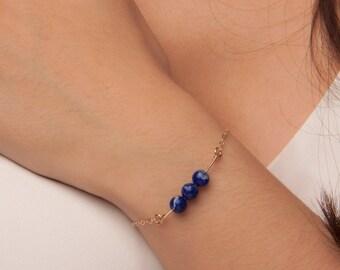 Delicate Lapis Lazuli Bracelet, Lapis Lazuli Jewelry, Lapis Lazuli bar bracelet, lapis lazuli bead bracelet, lapis and gold, lapis silver