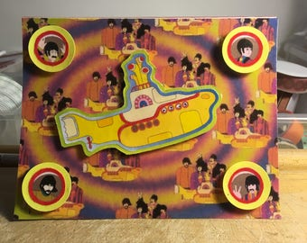 Psychedelic Yellow Submarine (Decoupage/3D) Card