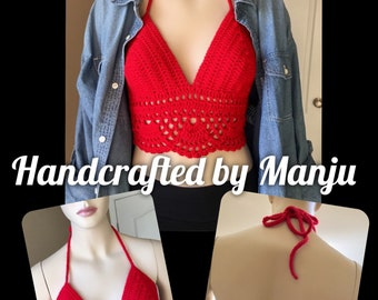 Summer Bralette (Size Medium, B Cup) Color Cherry Red Crocheted Handmade