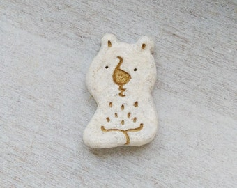 Bears think of / clay brooch