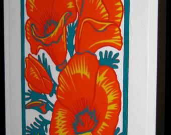 Hand pulled, woodblock printed greeting card, 'Desert Blooms'.