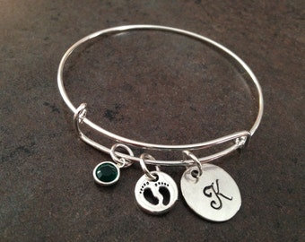 Footprints Cham Bracelet, Initial Charm Bangle, Baby feet, Mommy Bracelet,  Personalized, Monogram, Hand Stamped, Alex and, Gift for Her