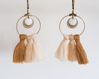 Agathe and Ana - beige cotton and antique bronze - tassels earrings