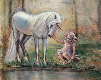 "Unicorn fantasy artwork - ORIGINAL painting girl with unicorn pastel art ""Magical Facade"" Laurie Shanholtzer"
