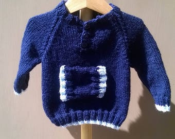 Navy sweater boy 6 month raglan with pockets