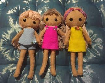 Hand sewn dolls (100% wool felt).