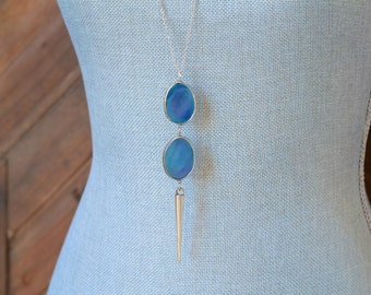 CLOSEOUT Long Blue Stone Necklace - Long Silver Spike Necklace - Long Blue Pendant Necklace - Long Silver Chain Necklace - Layered Necklace
