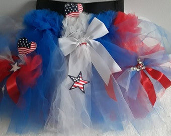 Girls red white and blue tutu,sewed together!