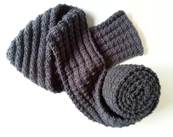 Grey Hand Knit Scarf, Textured Scarf, Mens Womens Scarf, Fall Fashion Scarf, Thin Knitted Scarf, Trendy Scarf, Knitted Dark Grey Scarf