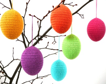 Easter eggs /set of 6/ crochet ornaments, colorful spring decoration