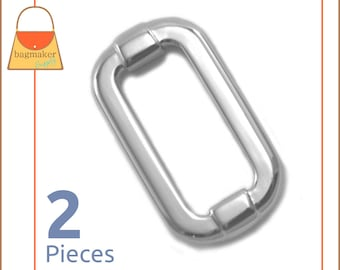 "1 Inch Fancy Cast Rectangle Rings, Nickel Finish, 2 Pack, Purse Handbag Hardware, Purse Supplies, Rectangular 1"", RNG-AA260"