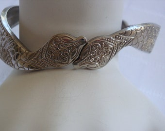 Vintage Two Snake Hinged Bangle Bracelet