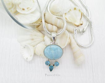 Oval Larimar and Blue Topaz Sterling Silver Pendant and Chain