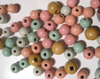 Vintage Wooden Beads in Pastel Colors of Pink -Mint-Peach- Gold
