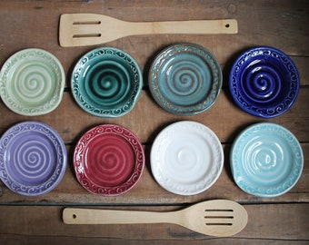 Spoon Rest, Decorated, Spoon Holder, Dish, Green, Blue, Purple, Cranberry, Aqua, White, IN STOCK, ready to ship
