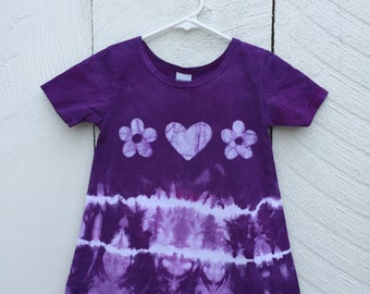 Purple Girls Dress, Tie Dye Girls Dress, Girls Tie Dye Dress, Purple Tie Dye Dress, Flower Girl Gift, Purple Flower Girl Dress (4T)