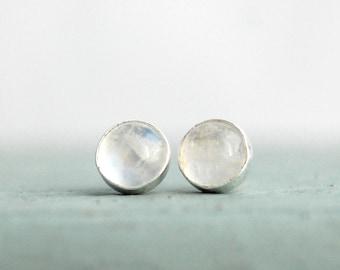 Moonstone Studs | Moonstone Earrings | Rainbow Moonstone | Silver Moonstone Earrings | June Birthstone | June Birthday Gift For Her