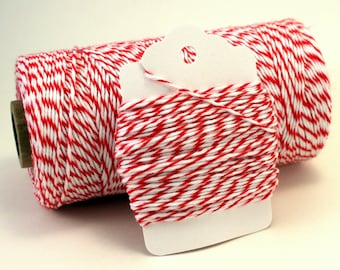 Red Baker's Twine - Red Cotton String - Christmas Twine - Striped Baker's Twine - Red Striped Twine - Cherry Divine Twine - Red Gift Wrap
