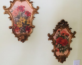 Vintage Italian Ornate Gold Ernest Milano Frames with Floral Prints
