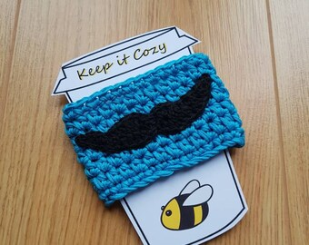 Moustache Cup Cozy, Cup Cosie, Takeaway Cosie, Tash, Blue Cozy, Coffee Sleeve, Coffee Lover