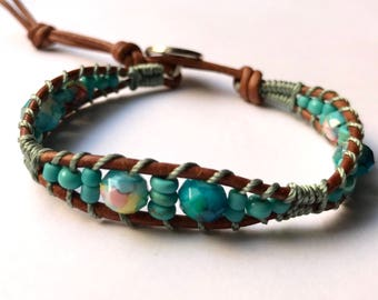Turquoise beaded single wrap leather ladies bracelet, boho jewelry, beaded bracelet, coffycrochet, gift for her, spring fashion, mothers day