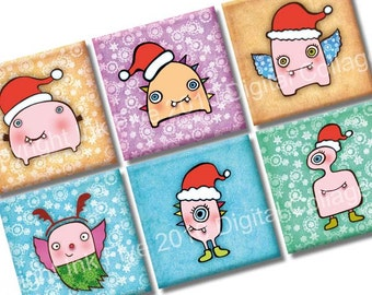 Christmas Monsters digital collage sheet. 1x1 inch square images for magnets, tile pendants, card making. Xmas digital download printables