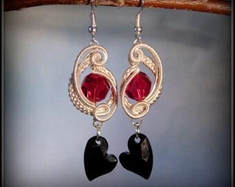 SALE! Red and Black Heart Earrings, Sarovski Devoted Heart Earrings, Valentine Earrings, Heart Earrings, Heart Jewelry, Dangling Hearts