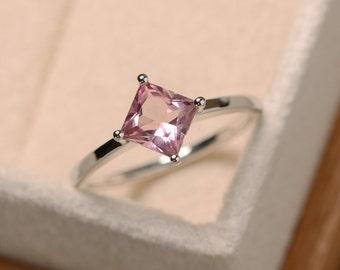 Princess cut tourmaline ring, pink gemstone ring, solitaire ring