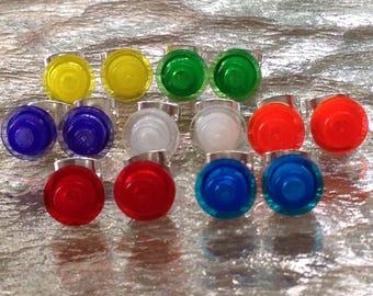 Lego earrings, lego studs, round lego transparent clear stud earrings, neon stud earrings, kids earrings, girls earrings, childs earrings