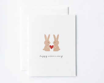 Anniversaire mignon lapin anniversaire carte, carte d'anniversaire