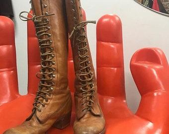 Vintage Frye Lace Up Knee High Boots Seventies 1970s Size 7.5 to 8.